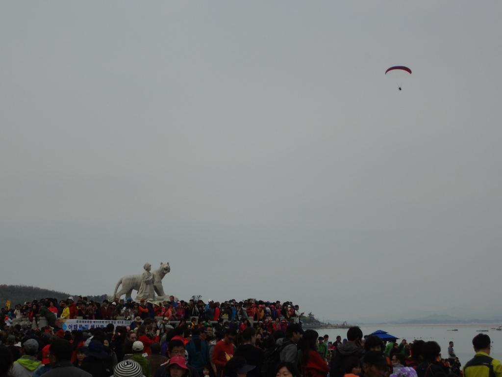 A paragliding photographer lit up the gloomy sky.