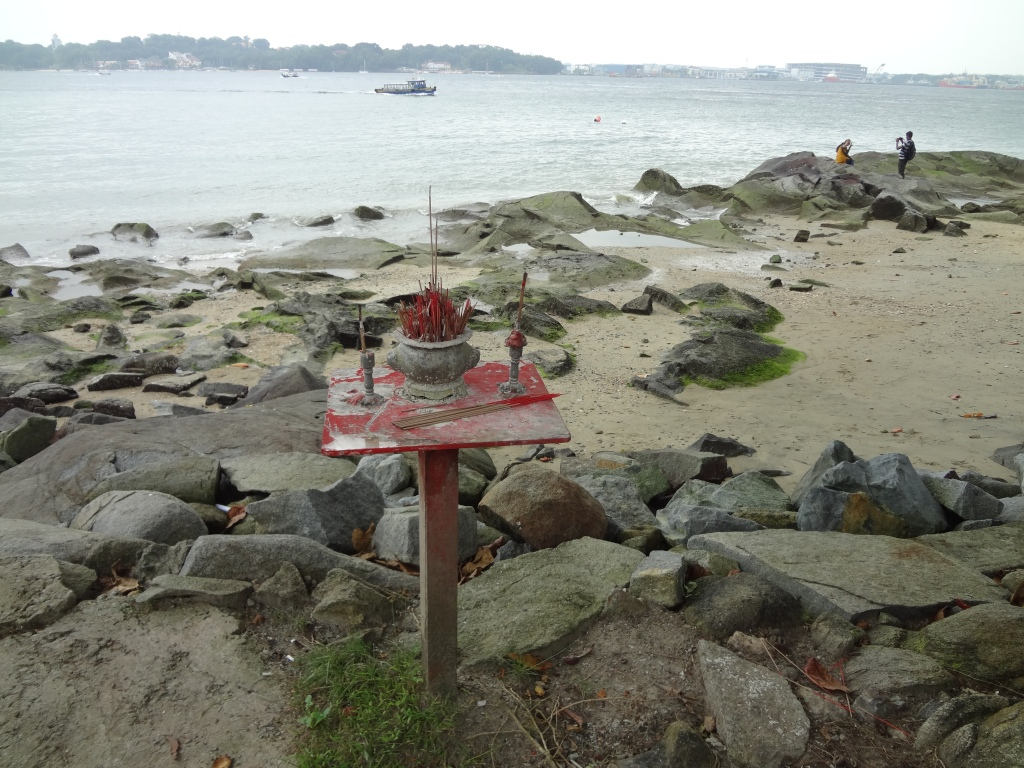 An altar on the coast of Pulau Ubin