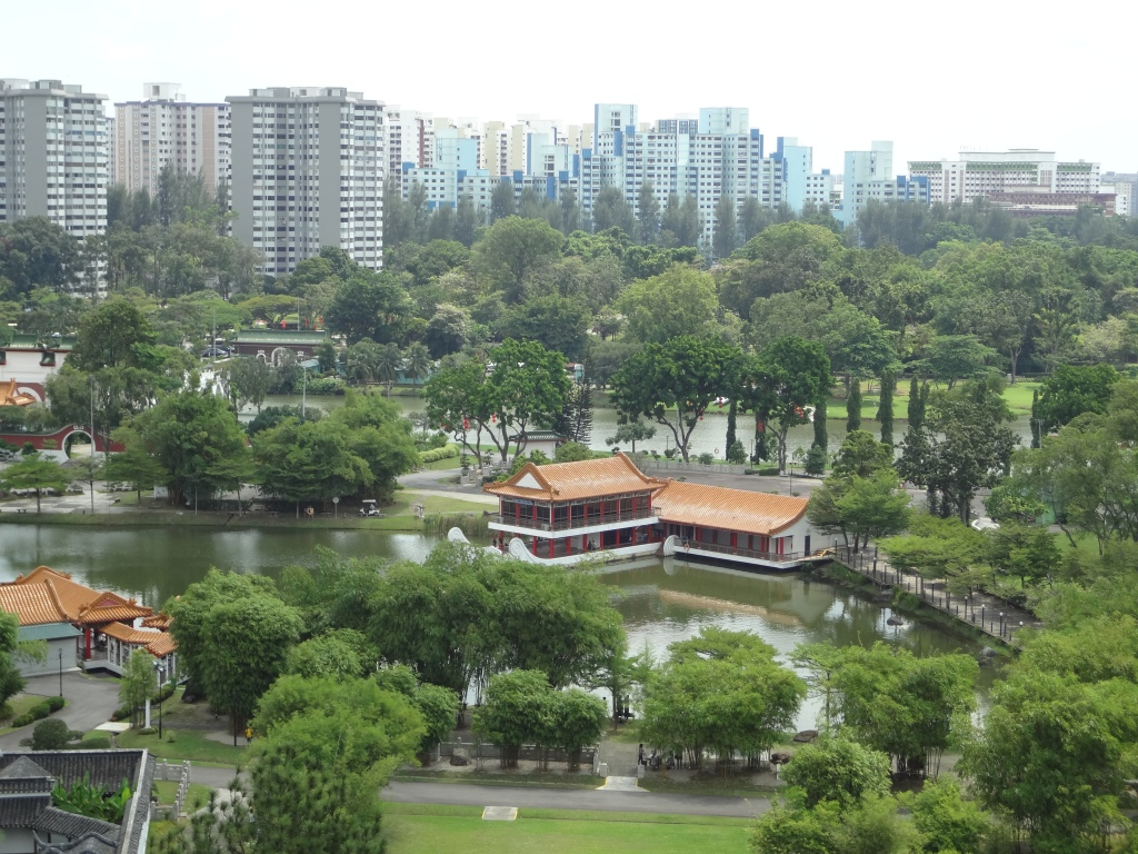 Traditional Chinese pavilions in the middle of sprawling urbanism
